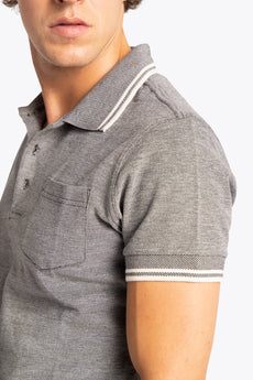 Men Polo Shirt - Black / White