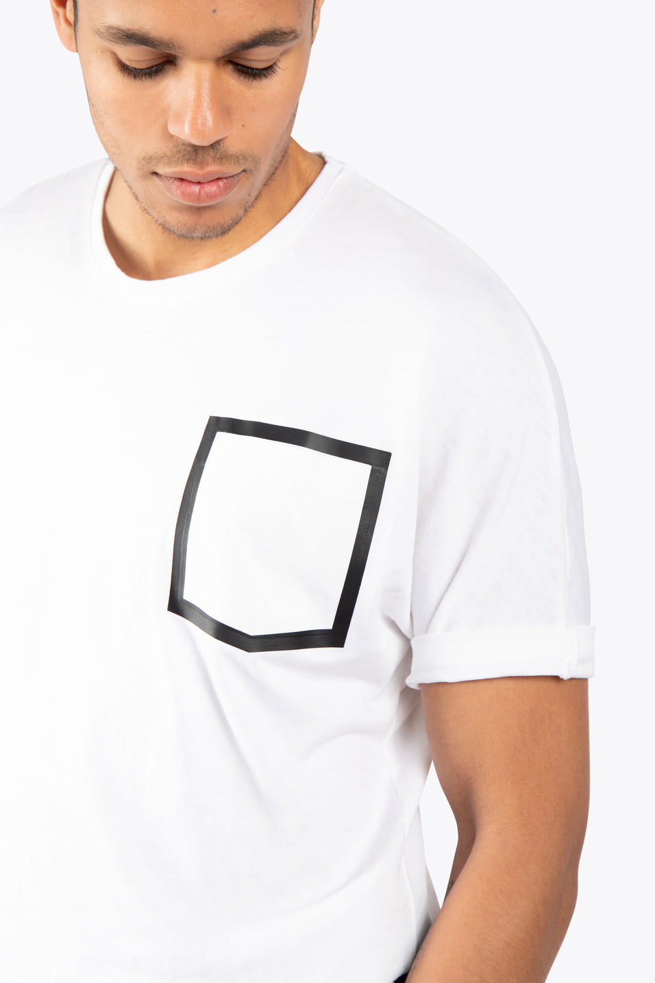 Men Short Sleeve Burnout Tee - White