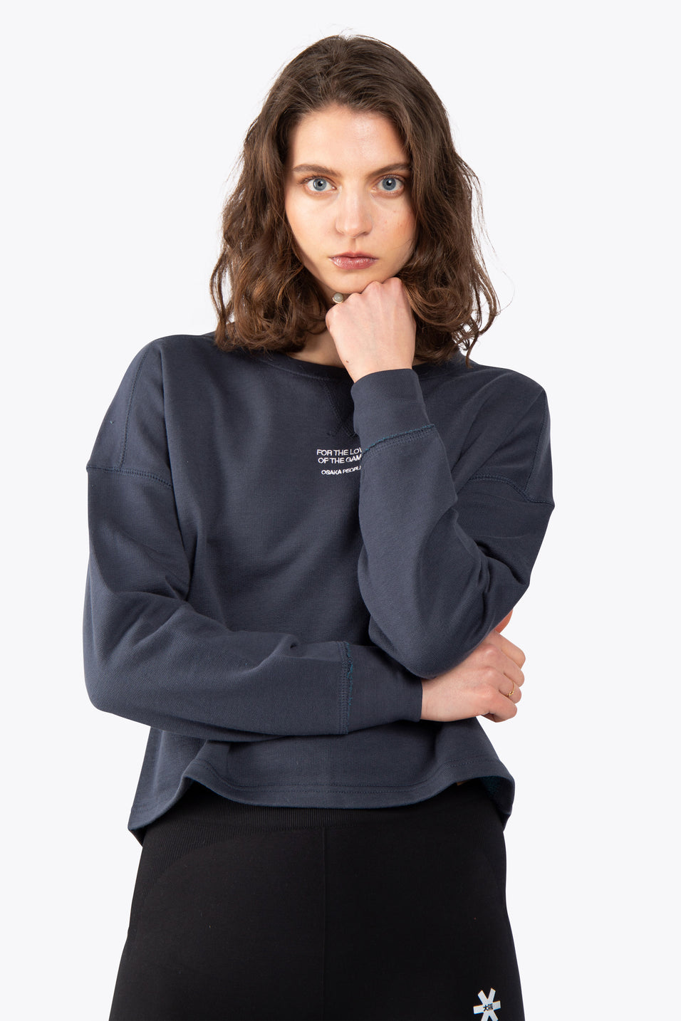 Women Cropped Sweater - Navy / Teal