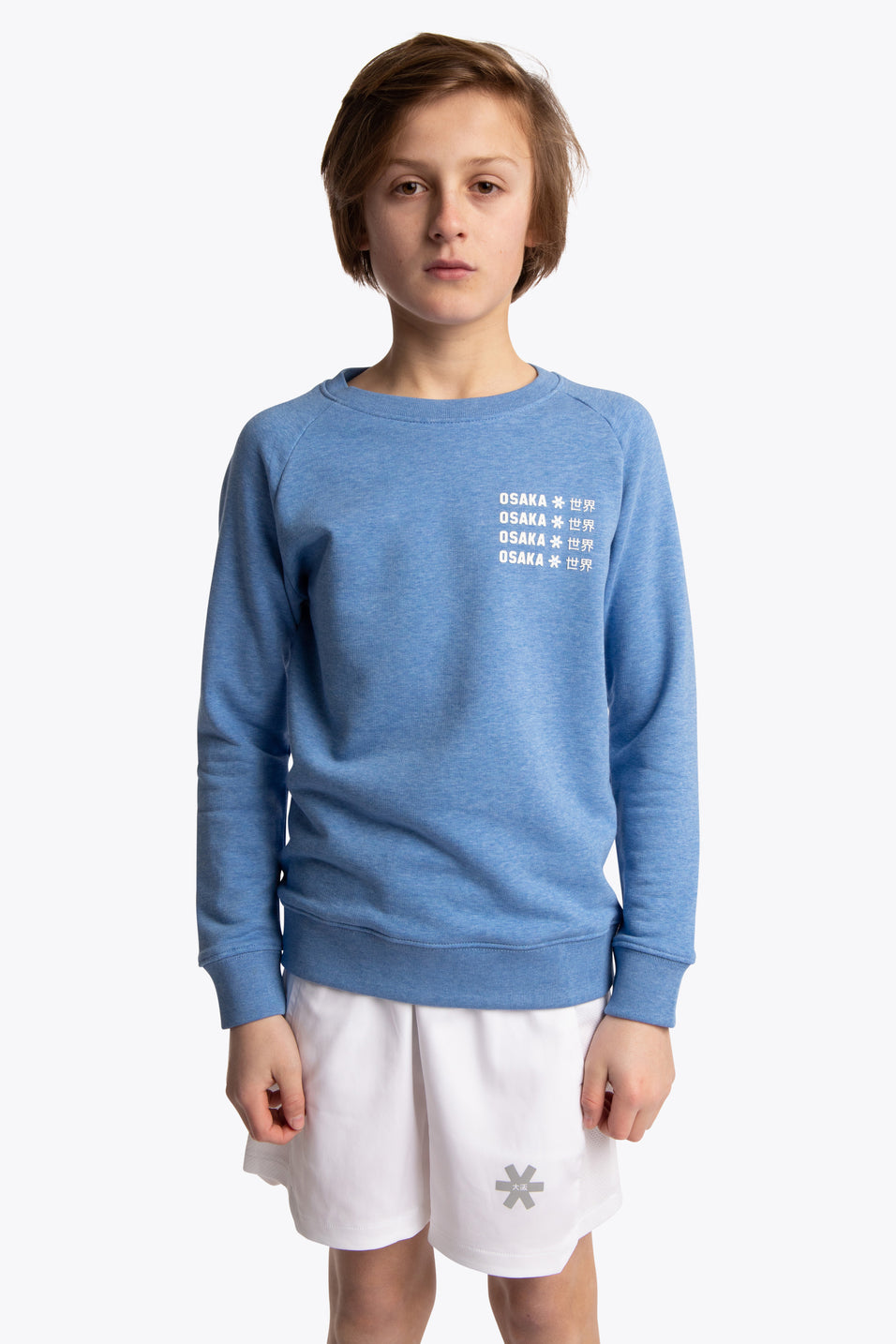 Deshi Sweater Pollocs Repeat White - Heather Ice Blue