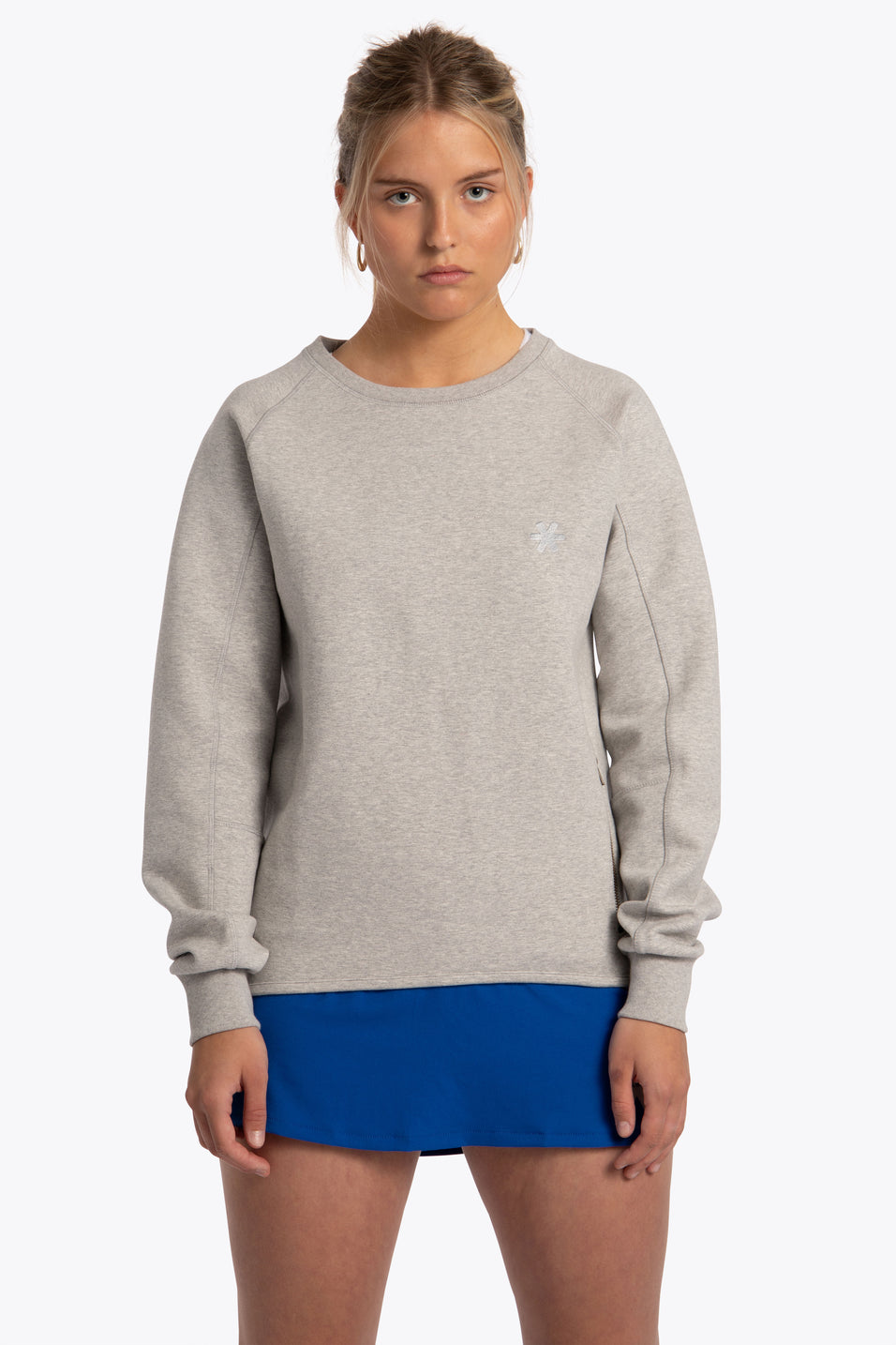 Women Tech Fleece Sweater - Grey Melange