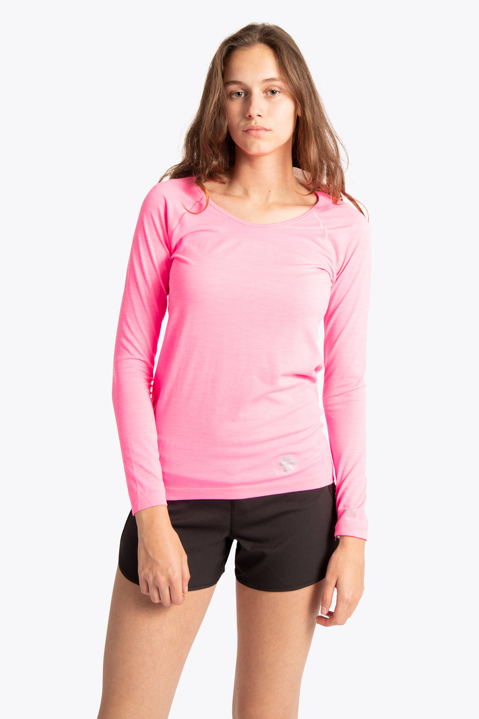 Women Tech Knit Tee Long Sleeve - Pink Melange