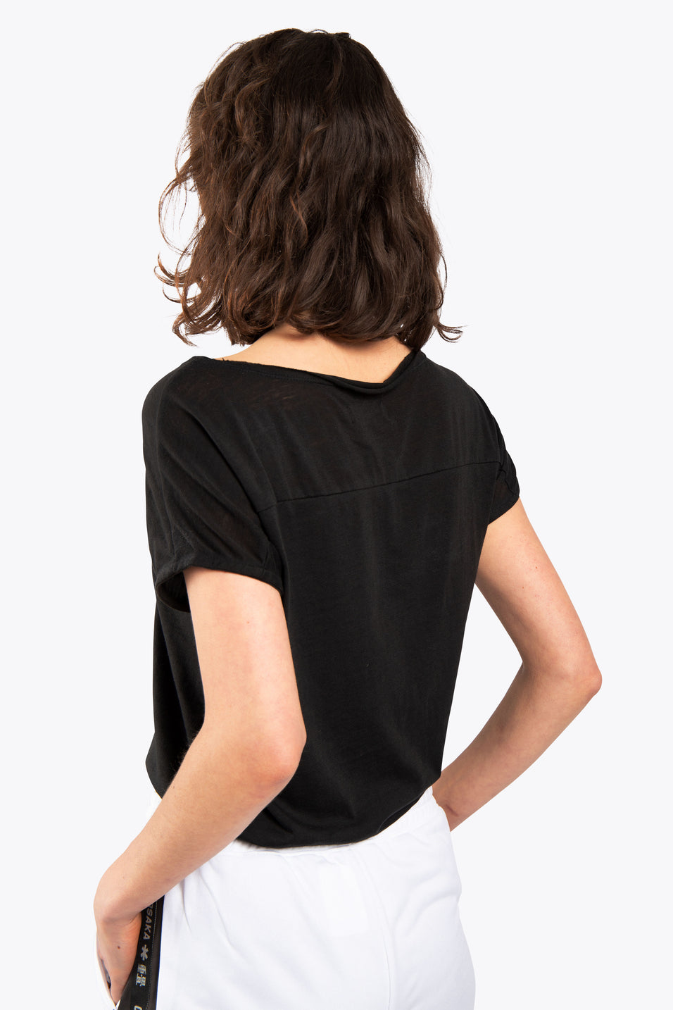 Women Loose Short Sleeve Burnout Tee - Black