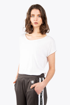 Women Loose Short Sleeve Burnout Tee - White