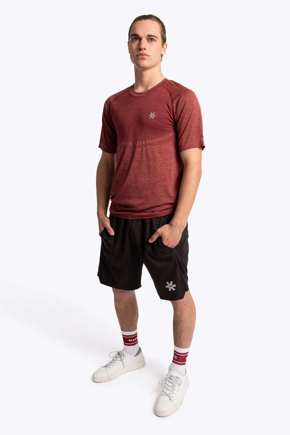 Men Tech Knit Tee Short - Maroon Melange
