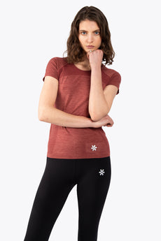 Women Tech Knit Tee Short - Maroon Melange