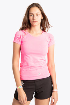 Women Tech Knit Tee Short - Pink Melange