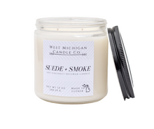 Load image into Gallery viewer, 12 oz Suede + Smoke Double Wick Candle | Soy Coconut Beeswax Natural Blend | Infused with Essential Oils | Candle Lover Gift | Home fragrance | Home Decor | Handcrafted