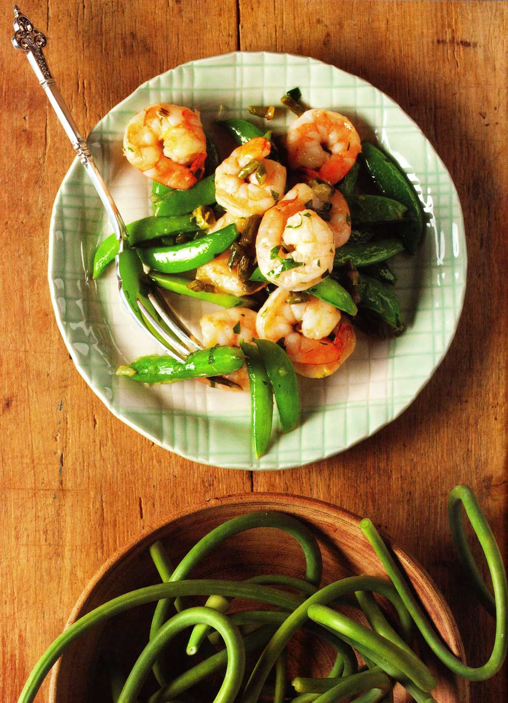 Shrimp with Garlic Scapes