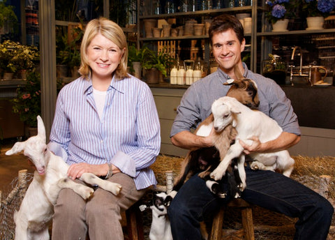 Martha Stewart and Brent Ridge with goats.