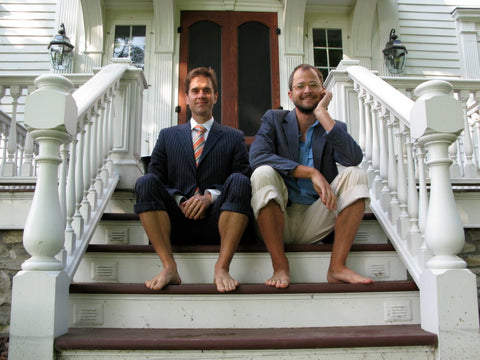 Josh and Brent sitting on their porch.