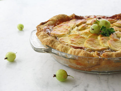 A baked gooseberry pie.