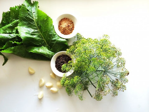 Pickling spices, dill and leaves.