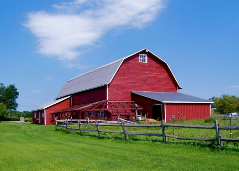The red barn on the farm.