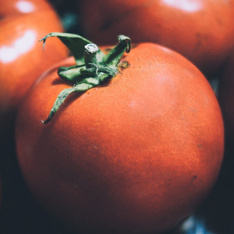 Close up shot of a ripe tomato