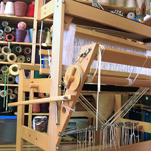 The back of a loom.