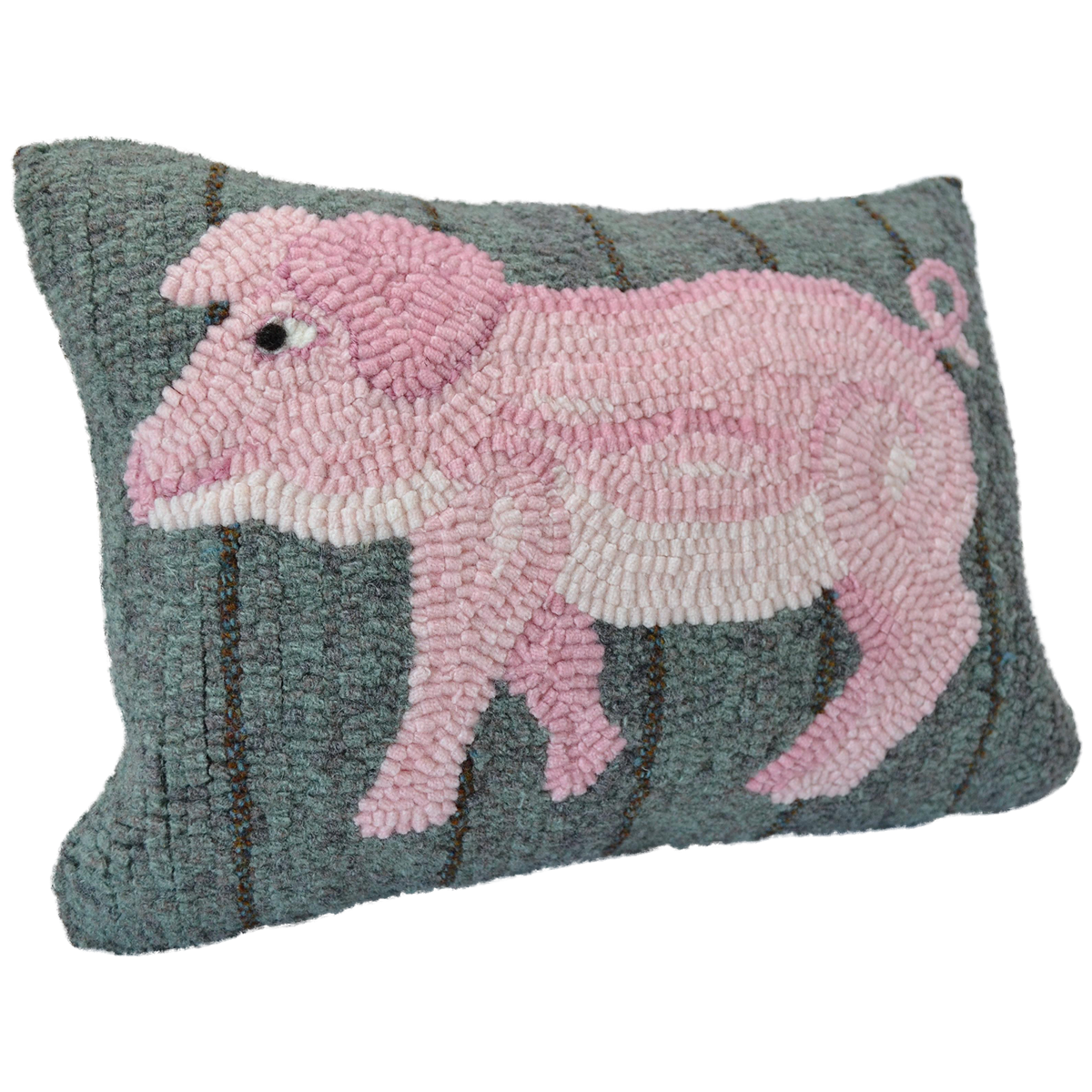 Pig Hooked Decor Pillow
