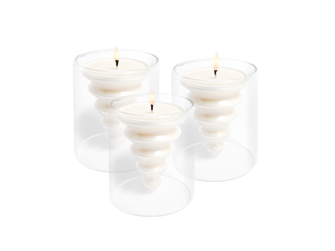 Snow Forest Glass Tree Candle 3-Pack