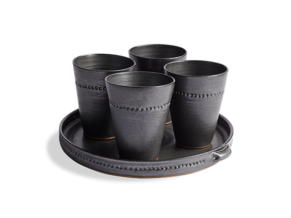 Drinking Cups & Tray Set of 5 Stoneware