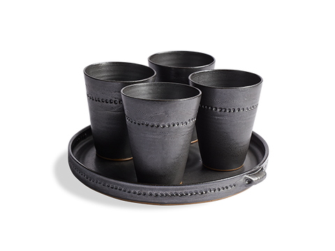 Drinking Cups & Tray Set of 5 Stoneware - Beekman 1802