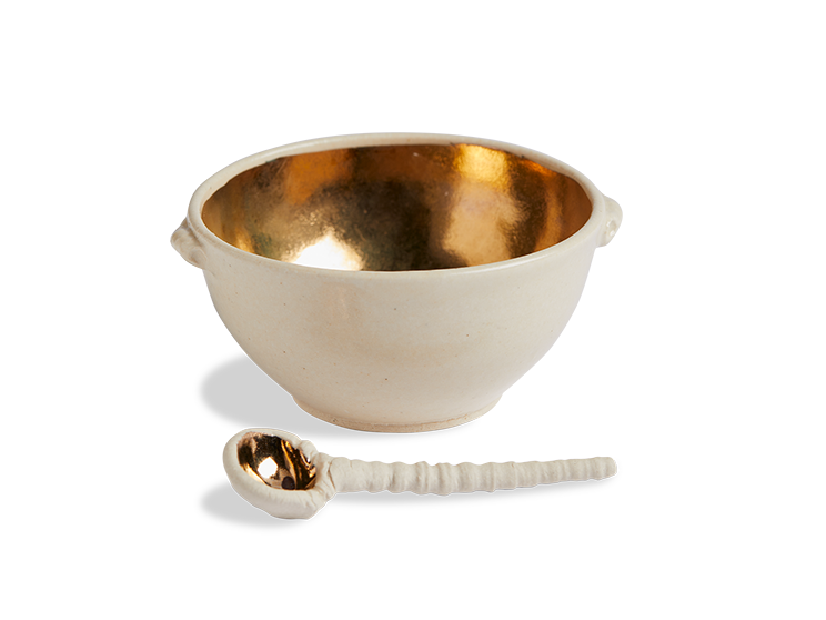 14K Gold Ceramic Salt & Spice Bowl with Spoon - Beekman 1802