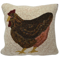 Laying Hen Hooked Decor Pillow