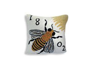 Bee Hand-Hooked Pillow