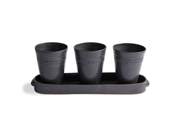 Black Stoneware Planter Set with Tray
