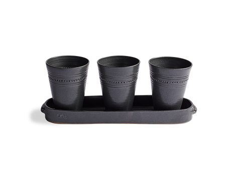 Black Stoneware Planter Set with Tray - Beekman 1802