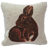 Spring Rabbit Hooked Decor Pillow