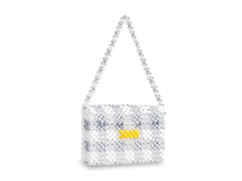 Beaded Lattice Shoulder Bag - Gingham Collection