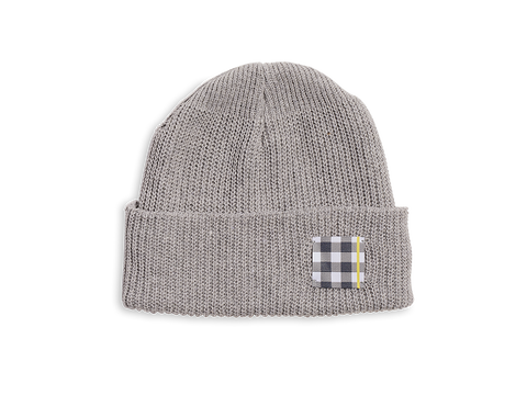 Grey Gingham Patch Beanie Hat