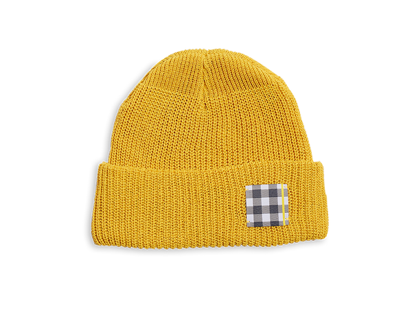 Yellow Gingham Patch Beanie Hat
