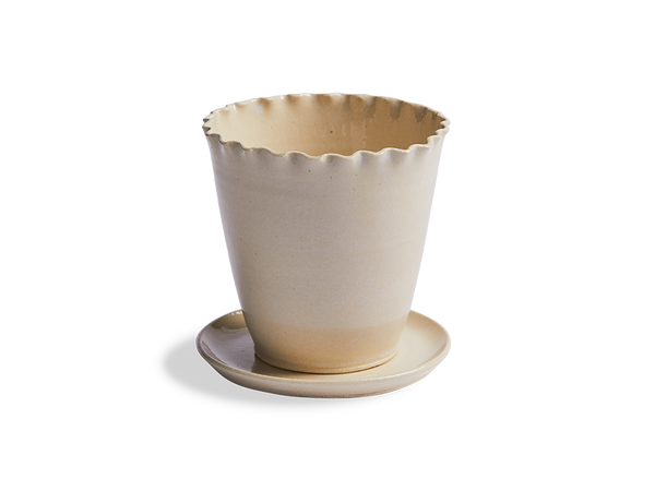 Ceramic Ruffled Edge Planter and Saucer