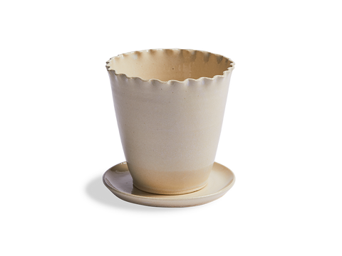 Ceramic Ruffled Edge Planter and Saucer - Beekman 1802