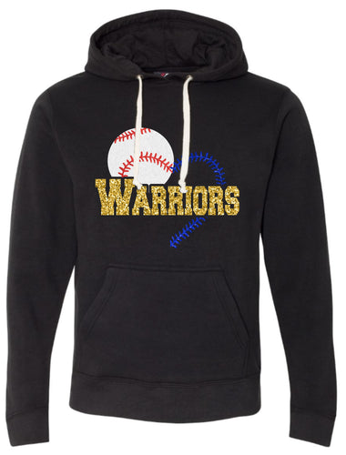 Baseball/Softball Warrior Heart Glitter Hoodie