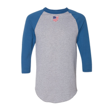 Load image into Gallery viewer, Our Tribe Gray and Blue Raglan Unisex