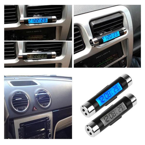 Digital LCD Car Clock & Thermometer