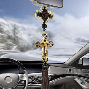 Golden Cross Rear View Mirror Hanging Accessory