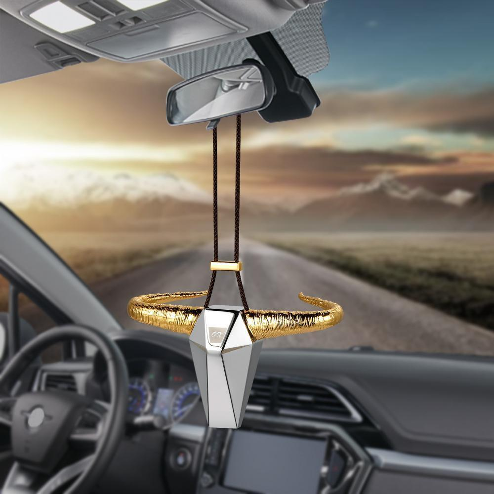 Zinc Alloy Horn Rear View Mirror Hanging Accessory