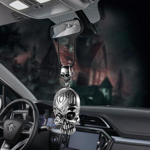 Metal Skull Rear View Mirror Hanging Accessory