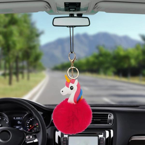 Fluffy Unicorn Rear View Mirror Hanging Accessory