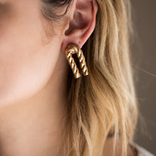 Load image into Gallery viewer, Gold Bent Twizzle Earrings