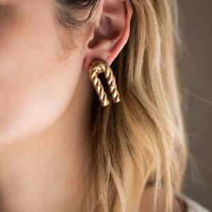 Gold Bent Twizzle Earrings