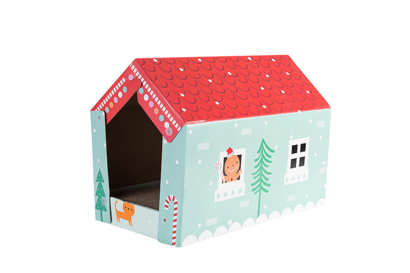 "Pawnie ""Winter House"" Cat Sctratcher and Resting Lounge Pad with Beautiful House Cover"