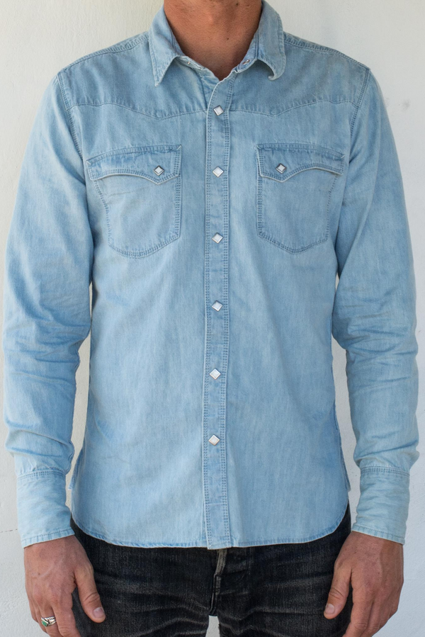 Calico Shirt | Bleached Denim | Freenote Cloth - Manready Mercantile
