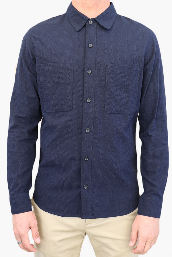Aetna Seersucker Shirt | Navy | Monadic Clothing