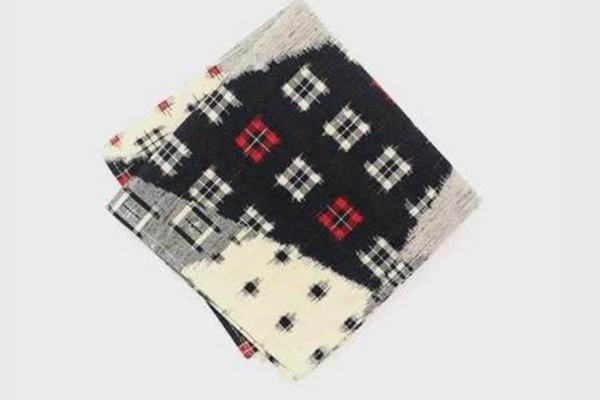 Pocket Square | Black, Cream, & Red Kasuri | Kiriko