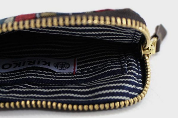 Zipper Wallet | Red + Indigo Shima | Kiriko