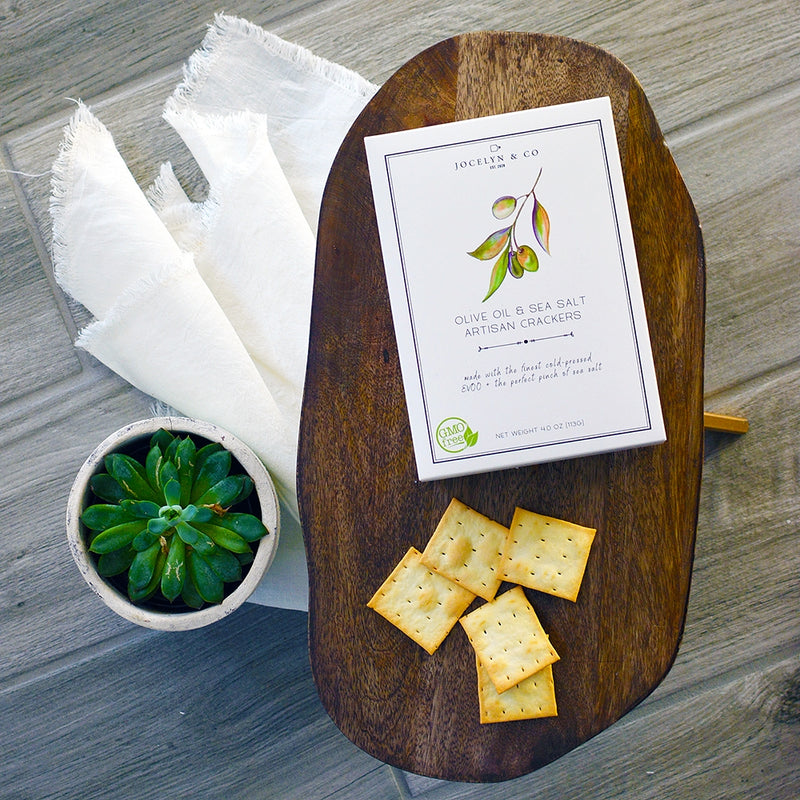 Olive Oil & Sea Salt Crackers | Jocelyn & Co.